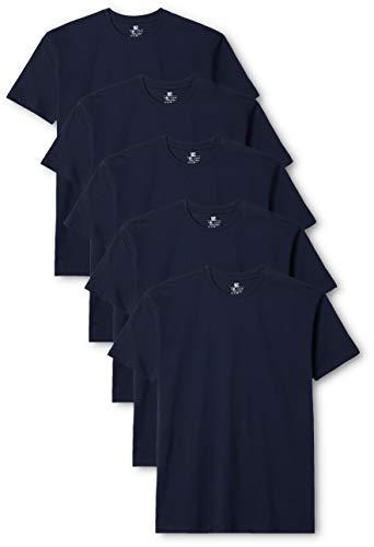 Lower East Herren T-Shirt mit Rundhalsausschnitt, Blau (Dunkelblau), Large, 5er Pack