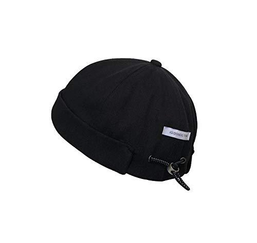 Evetin Docker Mütze Adjustable Seemannsmütze Hafenmütze Bikercap Basecap Docker-Cap ganzjährig Tragbar Hat Brimless Hat Rolled Cuff Harbour Hat 008 (Schwarz)