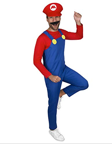 PARTY FIESTA Disfraz Fontanero Rojo para Hombre (L)