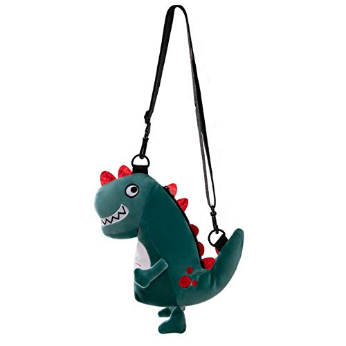 Dinosaur Plush Coin Purse Cute Animal Backpack for Toddler Adults Kids Kindergarten Cartoon Stuffed Schoolbag Super Soft Doll Mini Hand Bag