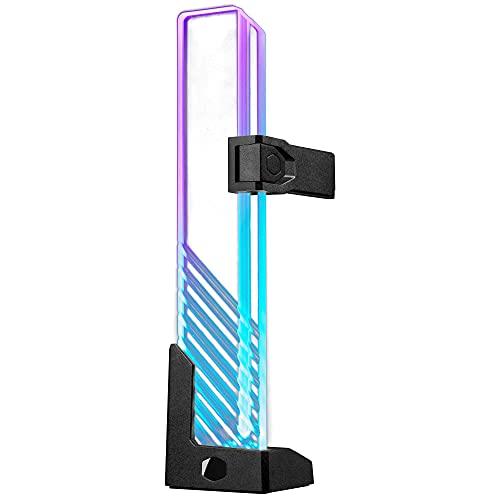 Cooler Master MasterAccessory Supporto GPU ARGB - Previene il Cedimento della Scheda Grafica, Vetro Temperato con Illuminazione Laterale ARGB, Design Versatile, Base Magnetica, Installazione Facile