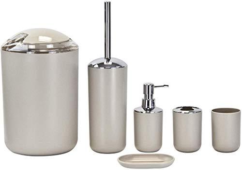 GABZ Badezimmer-Zubehör-Set, 6-teilig, Kunststoff, für Badewanne, Waschtisch, Arbeitsplatte, 6-teiliges Set (beige)