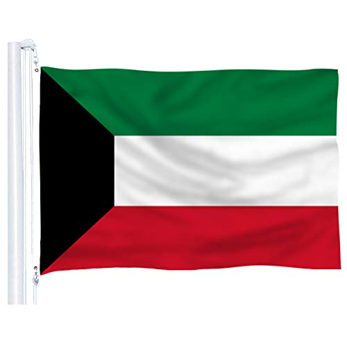 DFLIVE Kuwait Flag 3x5 Ft Thicker Polyester Kuwaiti National Banner with Brass Grommets
