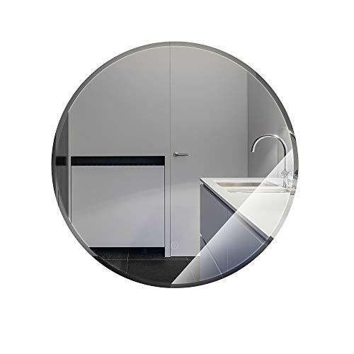 Spiegelmake-up LED Badkamerspiegel,Ronde Wandspiegel badkamer met LED-Verlichting,Spiegelontwerp met Aanraakschakelaar,voor Badkamer (60 * 60 * 4.5cm,Warm White)