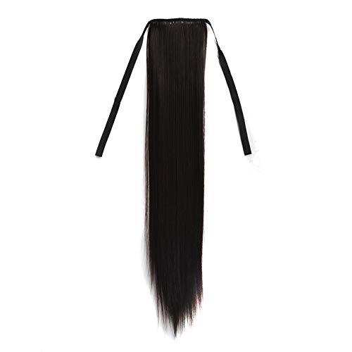 Peluca de Caballo de Peluca Larga Larga Natural Peluita de Peinado de Vendaje para Mujeres 60 cm Movoo (Color : Black)
