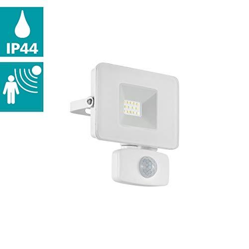EGLO LED Außen-Strahler Faedo 3, 1 flammige Außenleuchte inkl. Bewegungsmelder, Sensor-Wandstrahler aus Alu, Farbe: Weiß, Glas: klar, 10 Watt, IP44