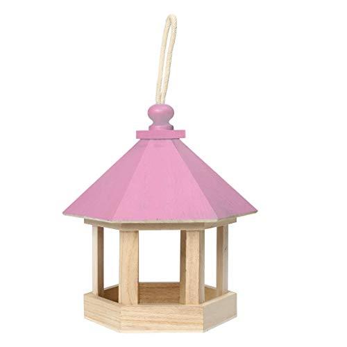 SKVVIDY Comedero Pajaros Pájaro de Madera Alimentador de jardín Decoración Colgante Yard Hexagonal Casa Forma Pet Pájaro Alimentador Comedero Pajaros Exterior (Color : Pink)
