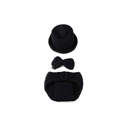 YeahiBaby Neugeborene Baby Fotografie Requisiten häkeln Kostüm Gentleman Hüte Outfits Kleinkind Photoshoot Sets (schwarz)