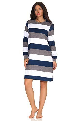 NORMANN-Wäschefabrik Damen Frottee Nachthemd mit Bündchen, tolle Streifenoptik - auch in Übergrößen 213 93 101, Farbe:Marine, Größe2:48/50