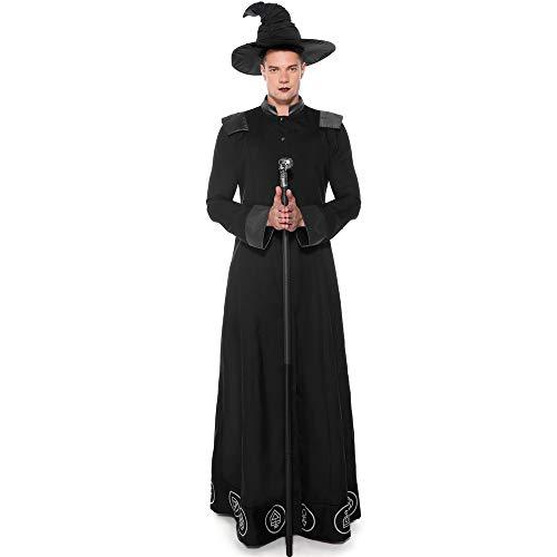 Mysterieuze oude middeleeuwse gewaad mannen mode rol spelen heks kostuum halloween kostuum priester kleding COS + hoed