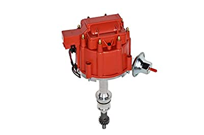 A-Team Performance Complete HEI Distributor 65,000 Coil Auto Parts Replcament Compatible with SBF Small Block Ford 260 289 302 5.0 One Wire Installation Red Cap