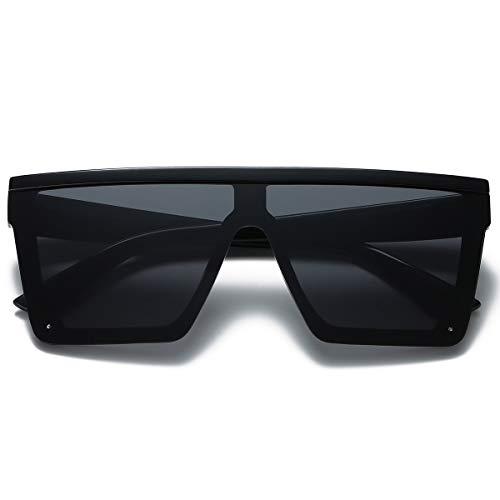 LKEYE - Oversize Shield Flat Top Square Sunglasses Siamese Rimless Lens LK1717 C1 Black/Gray