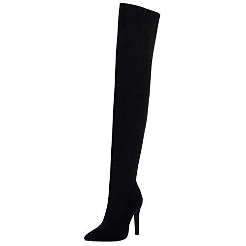 COOLCEPT Mujer Elegante Tacón de Aguja Botas de Muslo Puntiagudo Botas Cremallera Botas Altas de Muslo Black Talla 39 Asian