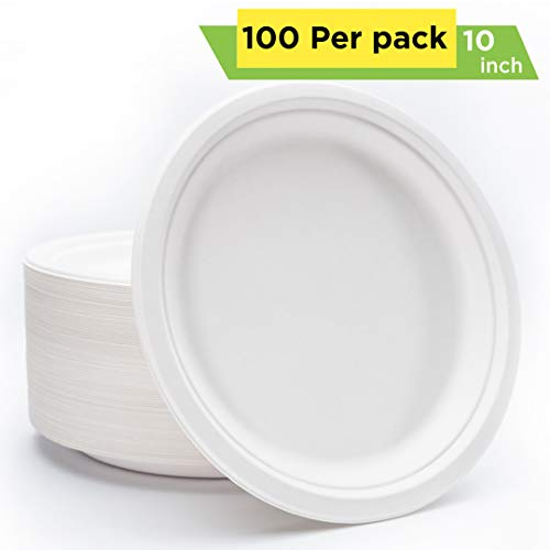 Mexago Eco-Friendly Round Compostable Plates - 10 inch | 100 Count - Natural Alternative to Paper Plate | Made of Sugarcane Bagasse