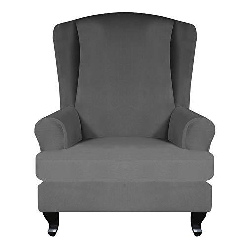 JTWEB Ohrensessel Bezug,Sesselbezug Sessel-Überwürfe Sesselhusse Elastisch Stretch Husse für Ohrensessel (Dunkelgrau)