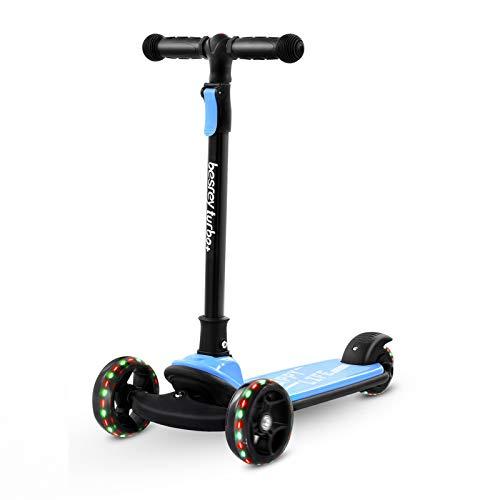 Patinete de 3 ruedas para niños de 3 a 10 años, mango de altura ajustable con ruedas LED intermitentes para niños y niñas (azul)