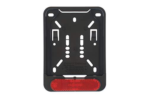 1x Kennzeichenhalter für Versicherungskennzeichen 135 x 110 mm ( für Mofa - Roller - S-Pedelec - E-Bike - Moped - L-Krad - Leichkraftrad ) Mit Reflektor Rot mit Zulassung
