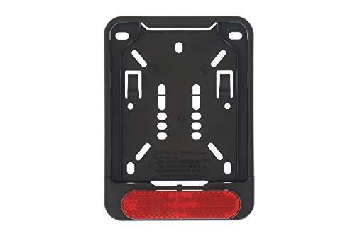 1 x licence plate holder for insurance licence plate 135 x 110 mm (for moped, scooter, S-Pedelec, e-bike, moped, L-wheel, light motorcycle) with reflector red with approval