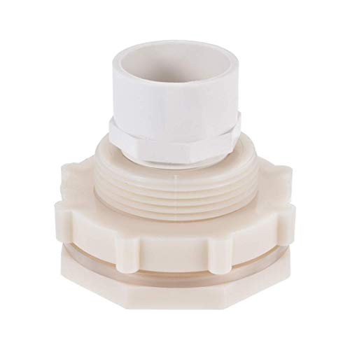 DealMux Racor de mamparo, G1-1/4 hembra de 2,44'macho, racor de adaptador de tubo, con junta de silicona y conector de tubo, para tanques de agua, PVC, blanco