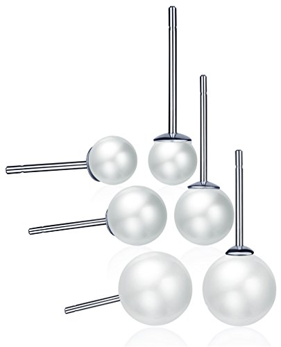 Unendlich U 925 Sterling Silber 4-9mm 6PCS Weiße Perlen Ohrstecker Set Gestüt Stecker Ohrringe Ohrschmuck für Damen Mädchen, 3 Paare