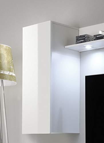 trendteam DS94501 Wohnwand Anbauwand Wohnzimmerschrank weiß Nachbildung und Front in weiß Hochglanz, BxHxT 208 x 165 x 33 cm - 4
