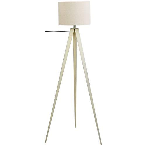 Umi. by Amazon Stehleuchte, Lampenschirm aus Stoff, Dreibein, Weiß, 152,4 cm