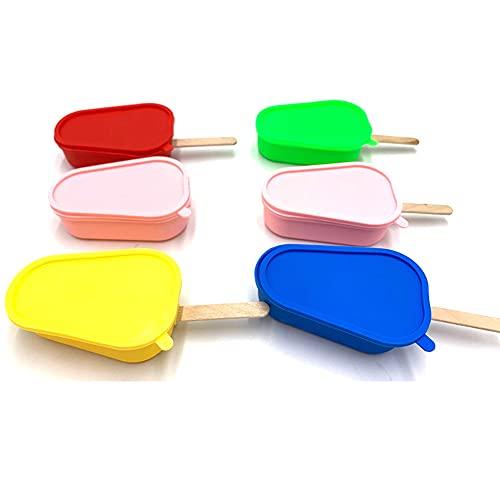 Crethink Moldes de silicona para paletas, 4 moldes reutilizables para hielo con palos, molde de helado con 3 patrones (4 colores)