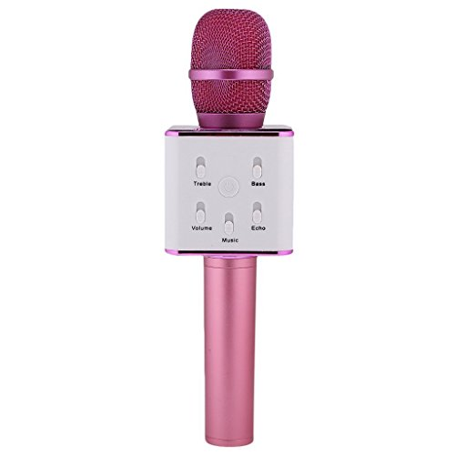 Q7 Inalámbrico portátil micrófono de karaoke, Micrófono altavoz Portátil inalámbrico bluetooth para la reunión de familia KTV, al aire libre Camping jugador de altavoz de mano para Smartphone(Púrpura)