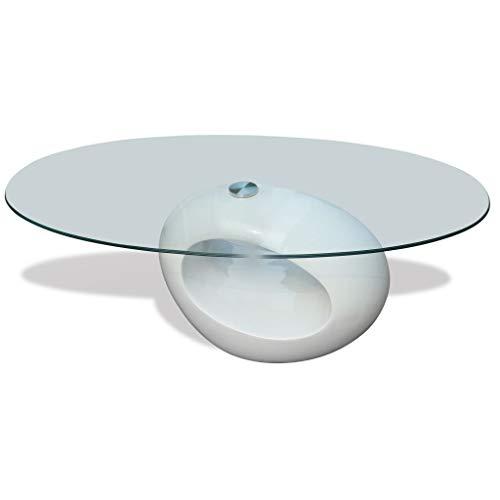 JXJ Mesa de Centro Redonda Blanca de Alto Brillo con Tapa de Cristal, Soporte de té Lateral para sofá