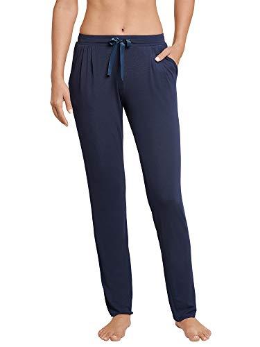 Schiesser Damen Mix & Relax Jerseyhose lang Schlafanzughose, Blau (Nachtblau 804), 42
