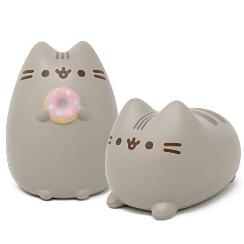 Hamee Pusheen Cat Slow Rising Cute Jumbo Squishy Toy (Bread Scented, 6.3 inch) [Birthday Gift Bags, Party Favors, Gift Basket Filler, Stress Relief Toys] - 2 Pc. Set (Loaf + Donut)
