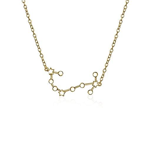 Astro Astrologie Sternzeichen Skorpion Sternbild Sterne Kette Mit Anhänger Für Damen 14Kt Vergoldet Sterling Silber