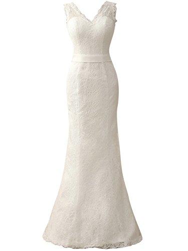 JAEDEN Brautkleid Damen Hochzeitskleider Lang Meerjungfrau Spitze Kleider V-Ausschnitt Elfenbein EUR40