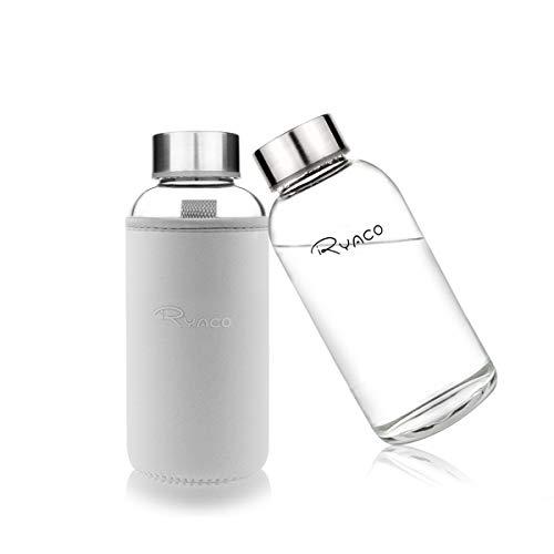 Ryaco Botella de Agua Cristal 360ml, Botella de Agua Reutilizable 12 oz, Sin BPA Antideslizante Protección Neopreno Llevar Manga con Acero Inoxidable Tapas Elegante de Borosilicato Botella