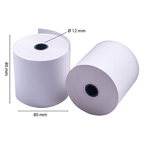 Rollos Papel Térmico 80x80x12 mm para Sumadora Impresora TPV, Sin Bisphenol A (8 unidades)