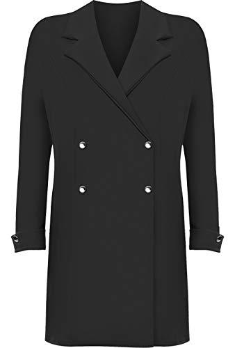 WearAll Women's Plus Long Sleeve Mini Blazer Dress Ladies Button Accent Top Jacket Plain - Black - 22-24