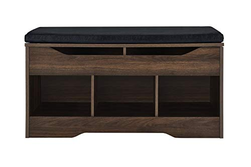 AmazonBasics Classic Shoe Bench with Lift-Top Compartment and 3 Storage Cubbies - Walnut