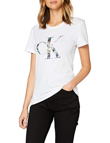 Calvin Klein Iridescent Metallic Logo tee Camisa, White, M para Mujer