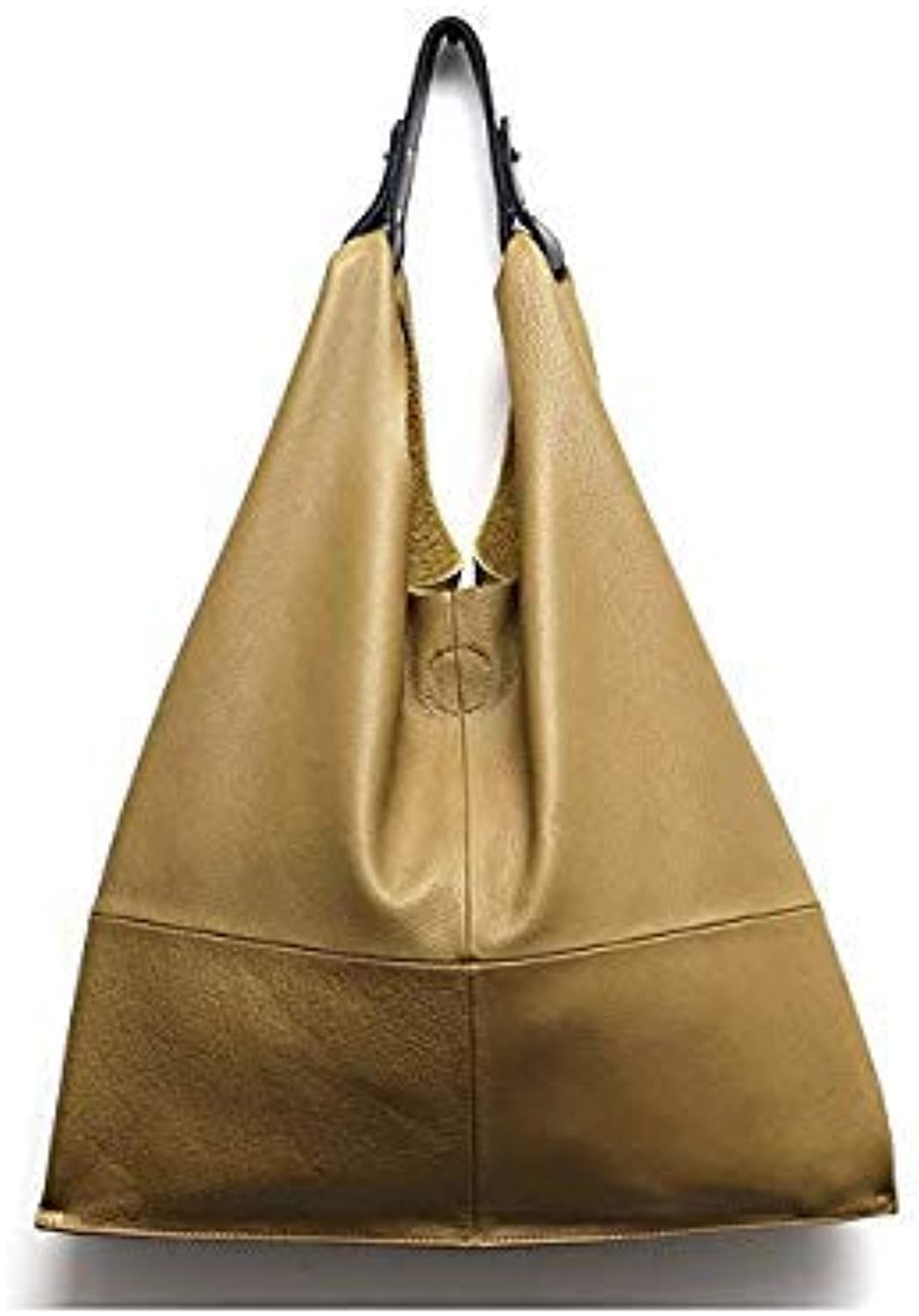 Bloomerang MONFERE Casual Women Hobo Bag Soft Genuine Cow Leather Fashion Shoulder Bags Female Large Tote Bucket Shopping Handbag&Liner Bag color Yellow