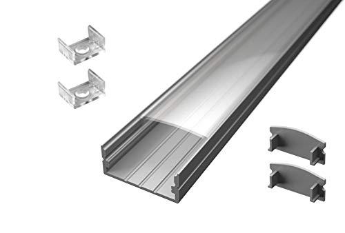 4 mètres profil en aluminium lp1030 en 2 barres de 2 mt pour double bande à lED avec coque transparent bouchons et crochets de montage inclus