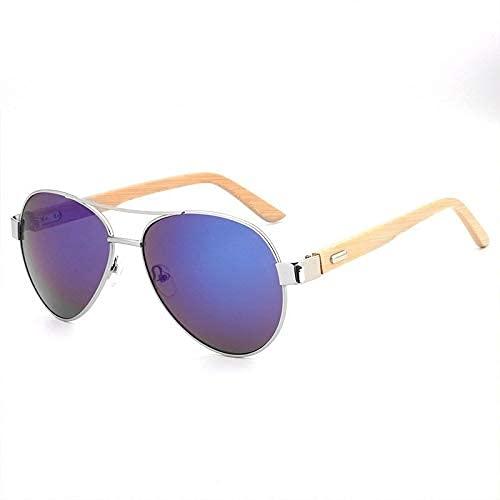 LAMZH Moda de Gafas de Sol UV Protección Piernas de bambú Gafas de Sol Moda Bambú Piernas de Madera Gafas de Metal Accesorios (Color : A)