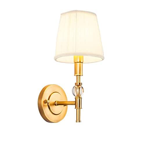 WENHAO Lámpara de pared de la pared de la pared decorativa de latón de la pared de la pared con la tela blanca LED de la tela LED de la lectura para la sala de estar del salón de la habitación del dor