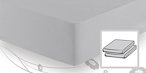 schlafgut Elastic-Jersey Topper Spannbetttuch/Spannbettlaken 180/200x200/220, Platin