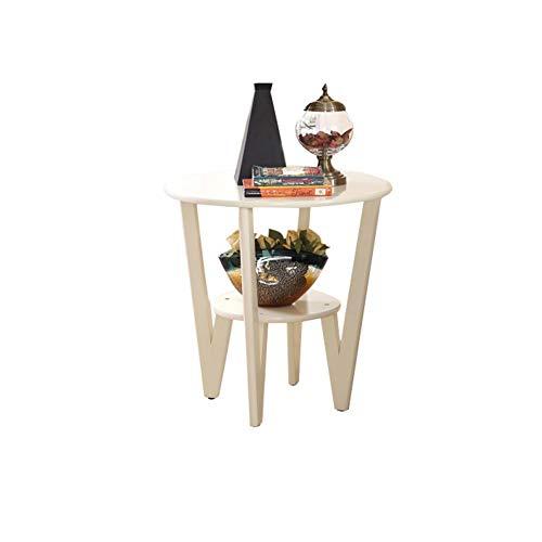 YLCJ Hoekbank Een paar kleine ronde salontafels in massief hout Eenvoudige woonkamer Klein Amerikaans appartement Kleine ronde tafel (Kleur: Wit)