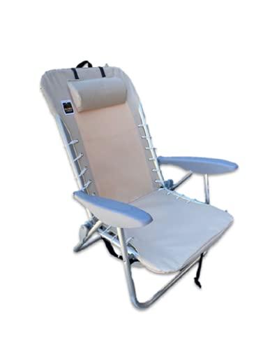 GLOBOLANDIA SRL Spiaggina Sedia reclinabile Mare Spiaggia Ecrù Braccioli Grigio Varie Posizioni in Alluminio e Textilene 600x300 con Cuscino Cinghie per Il Trasporto Sdraio Sdraietta Camping Giardino