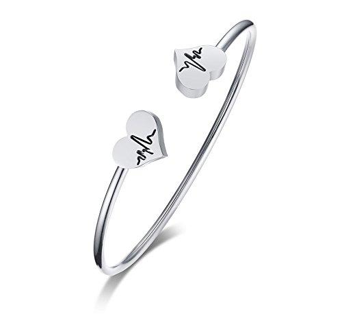 VNOX BFF Soul Sisters Bangles Heartbeat Cardiogram ECG Engraved Stainless Steel Open Cuff Bangle Bracelet for Mon Grandma Jewellery Gift for Women Girl