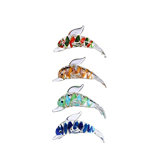 Dolphin Fish Decor Handmade Art Glass Blown Fish Dolphin Figurines Home Decor Crystal Animals for Collectible Figurines Birthday Gift Grand Opening Holiday Greeting Gift or Decoration Stuff 4 Pcs