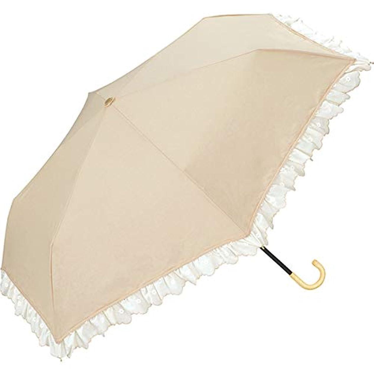 地域のペア農業ワールドパーティー(Wpc.) 日傘 折りたたみ傘 白 50cm レディース 傘袋付き ラインフラワー刺繍ミニ 801-8577 OF