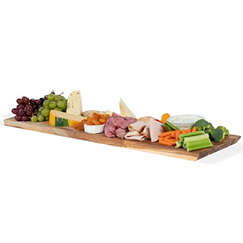 Wall Mountable Rectangular Charcuterie Cheese Serving Board and Decor Original Acacia Wood
