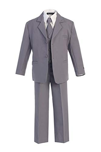 iGirlDress Boys Formal Dress Suit with Shirt and Vest Gray XL